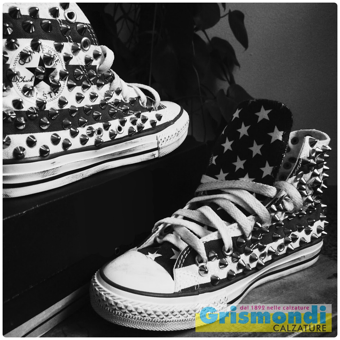 converse all star platform nere borchie